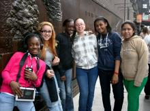 Students At 9/11 Memorial Wall